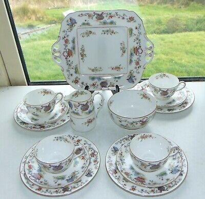 Royal Worcester China Pekin 15 PC Cups Saucers Plates Milk Sugar Blue Butterfly  • 48£