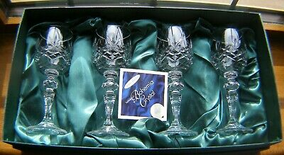 Boxed Set 4 Bohemia Hand Cut Crystal Port/sherry Glasses 6  New Condition In Box • 19.99£