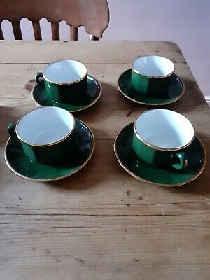 Apilco Green And Gold Coffee Cups And Saucers  Set Of Four In Very Good Cond.  • 18£