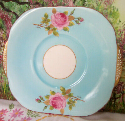 Rare Turquoise And Pink Rose Handpainted Vintage China Cake Plate Gold Handles • 16£
