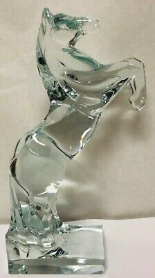 VINTAGE - LARGE Daum France Clear Crystal Signed Rearing Horse - MINT CONDITION! • 810.28£
