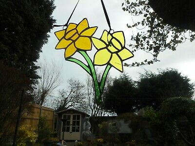 Stained Glass Daffodil Flowers Suncatcher Or Wall Mount.  • 22£