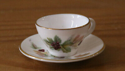 Vintage Caverswall Miniature Cup & Saucer - M Grant Redcurrant Design • 12.99£