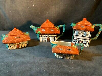 VINTAGE John Maddock & Sons Rustic Four Piece Teapot Set - Perfect!! • 20£