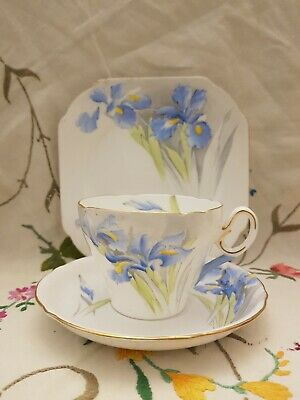 Vintage Shelley Bone China 'Blue Iris' Tea Cup & Saucer Side Plate Trio Vgc  • 14.99£