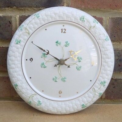 Irish BELLEEK Shamrock Wall Clock • 55£
