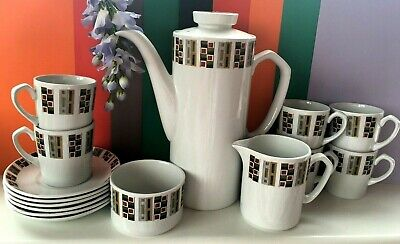 Vintage Retro Alfred Meakin Glo-White  Random  Complete Coffee Set For Six • 49.99£