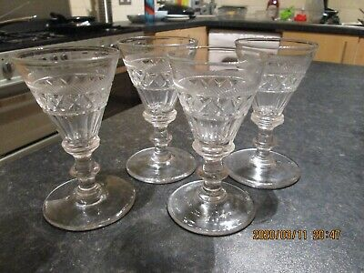 Set Of 4 19th C. Antique High Quality Cut Knop Stemmed Drinking Glasses • 24£