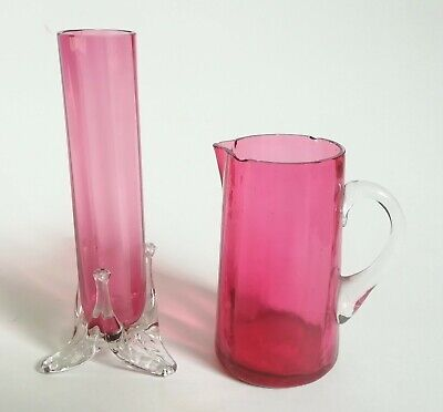 Cranberry Glass Jug And Cranberry Glass Vase • 15£