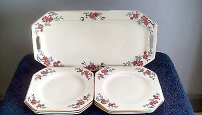 Vintage Myott Sandwich Tray And Six Side Plates.pre Owned. • 22£