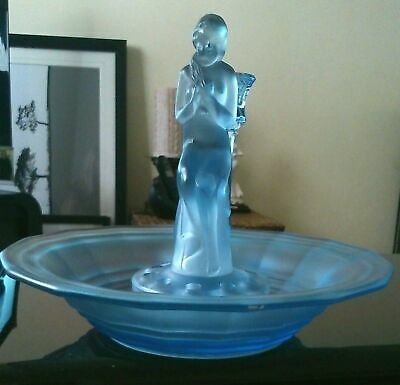Sowerby Art Deco Frosted Blue Glass Nude Lady Figurine In Float Bowl • 34.99£
