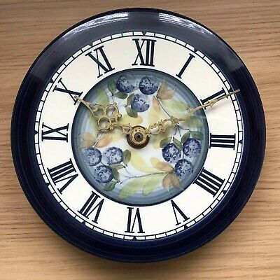 JERSEY POTTERY - Wall CLOCK - Navy & Blue Floral Design - Working - Kitchen • 12.50£