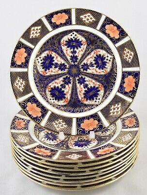 "Vintage Royal Crown Derby China Old Imari 1128 18cm 7"" Dessert Plates X 9 1st  • 145£"