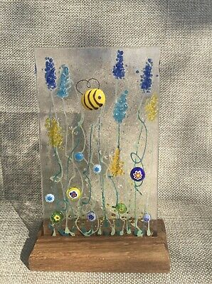 Unique 3D Handmade Honey Bee Meadow Fused Glass Clear Sun Catcher • 18.99£