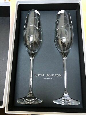 Royal Doulton Promises With This Ring Swarovski Champagne Flutes Boxed • 16.99£