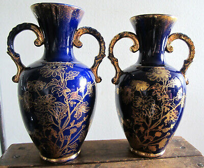 PAIR Of LARGE BLUE & GOLD FLORAL VASES • 4.99£
