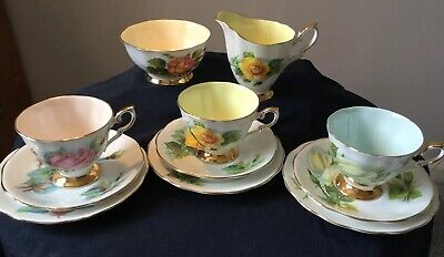 ROYAL STANDARD  HARRY WHEATCROFT 'WORLD FAMOUS ROSES' 3 TRIOS ,JUG,S. BOWL .Sgnd • 22£
