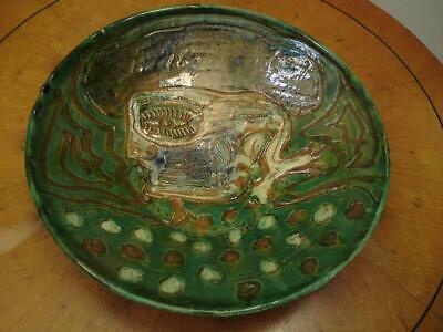 Artist Signed Sgraffito Green Tin-Glaze Pottery Wall Dish Abstract Face Portrait • 45£