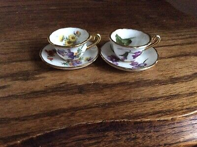 Beautiful Pair Of Vintage Hammersley Bone China Miniature Floral Cups & Saucers • 7.50£