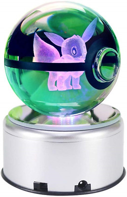 3D Cool Laser Etching Crystal Ball Night Light Gift Lamp For Kids Children Eevee • 51.59£