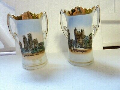Pair Of Miniature Vases With Transfers Of York Minster + Nice Gilding - Used • 1.50£