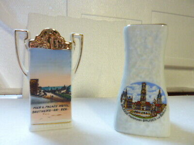 2 Miniature Vases With Transfers Of Southend And Bruges + Nice Gilding - Used • 1.50£