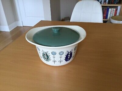 Vintage Egersund Norway Ceramic Casserole Dish With Lid White/blue/green • 25.95£