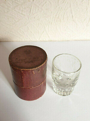 Antique ISLE OF MAN 'Just A Nip' Etched TRAVELLING SHOT GLASS In CASE - C.1912 • 4.49£