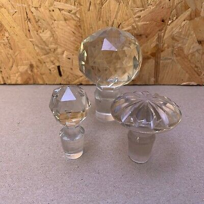 3 X Vintage Crystal Decanter Perfume Bottle Stoppers • 3.99£