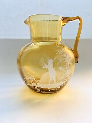 Antique  * MARY GREGORY Amber GLASS JUG * Decorated White * YOUNG GIRL * Flower • 15£