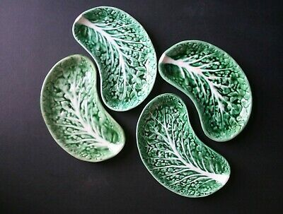 Four Vintage Green Cabbage Leaf Side Sandwich Plates Made In Portugal • 25£