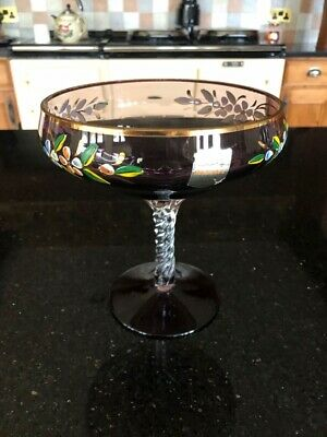 Vintage Bonbon Dish - Hand Made Amethyst Glass With Pretty Floral Frieze • 15.50£