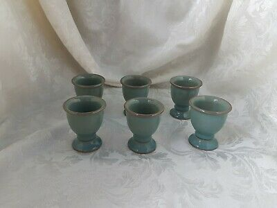 Denby Regency Green 6 X Footed Egg Cups • 24.99£