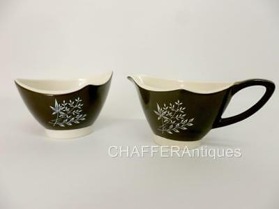 Scarce Carlton Ware Boomerang Pattern Creamer & Sugar Bowl - Hand Painted • 20£