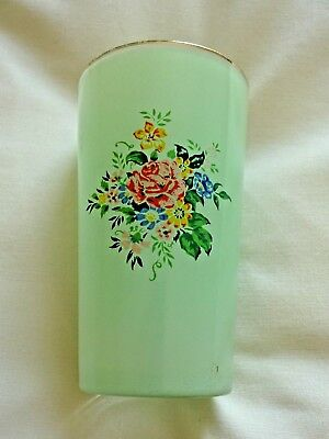 VINTAGE FROSTED GREEN DRINKING GLASS WITH FLORAL DESIGN  (Hand Painted?) • 4£
