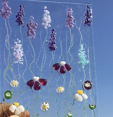 Unique Handmade Bright Cheerful Flower Meadow Fused Glass Sun Catcher • 17.50£