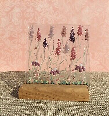 Unique Handmade Bright Cheerful Flower Meadow Fused Glass Sun Catcher In Pinks • 14.99£