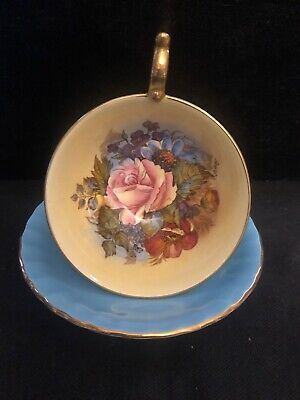 Aynsley Cabinet Cup And Saucer Cabbage Rose / Turquoise  Contrast • 69.99£