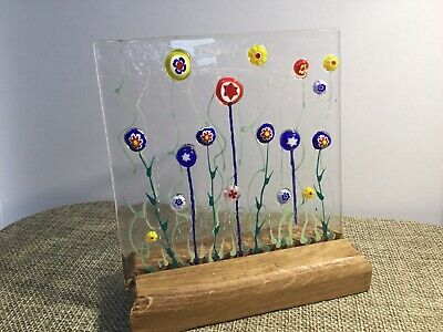 Unique Handmade Bright Cheerful Flower Meadow Fused Glass Sun Catcher • 14.99£