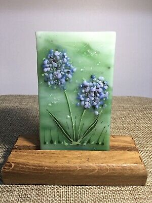 Unique Handmade Cheerful Allium Flower Meadow Fused Glass 3D Little Picture • 4.50£