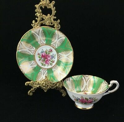 Paragon China Cabinet Cup & Saucer~ Pink Roses Lots Of Gold Green Ground Ref O1 • 35.81£