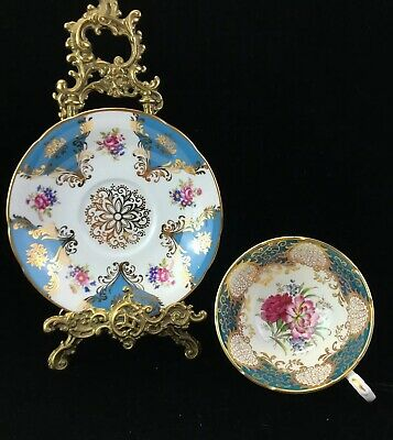 Paragon China Cabinet Cup & Saucer~ Pink Floral Gold Turquoise Ground Ref P1 • 18.40£