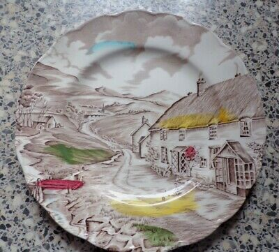 W.H GRINDLEY SALAD PLATE   QUITE DAY  22cms DIAMETER  • 1.99£