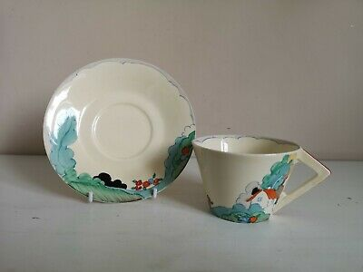 Clarice Cliff Bizarre  Newlyn  Conical Cup & Saucer • 135£