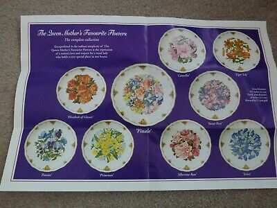 Royal Albert Collectors Plate Set (9 Piece) Queen Mothers Favourite Flowers • 50£