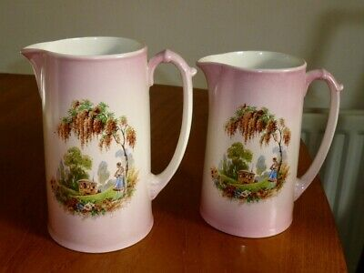 Vintage Antique 20s 30s Pink Gypsy Caravan Romany Large Jugs Pitchers Vases X 2  • 19.99£