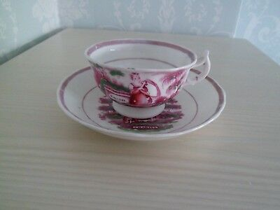 Hope Faith & Charity Pink Lustre Cup And Saucer • 12.50£