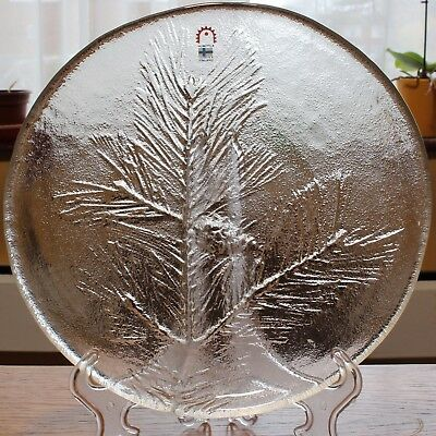 Finland HUMPPILA Pressed Glass Dish With Pine Leaves & Cone Pattern, 9.75  • 9.99£