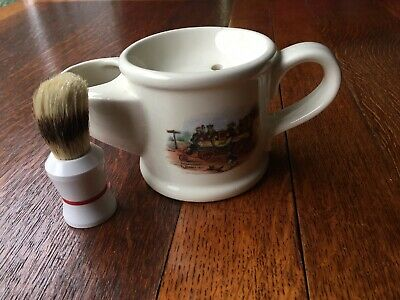 "Vintage Shaving Mug And Brush "" Steam Coach"" Design Wade England Preowned • 4.99£"