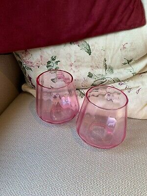 A Pair Of Vintage Pretty Decorative Pink Glass Flower Vases/ Glasses • 12.99£